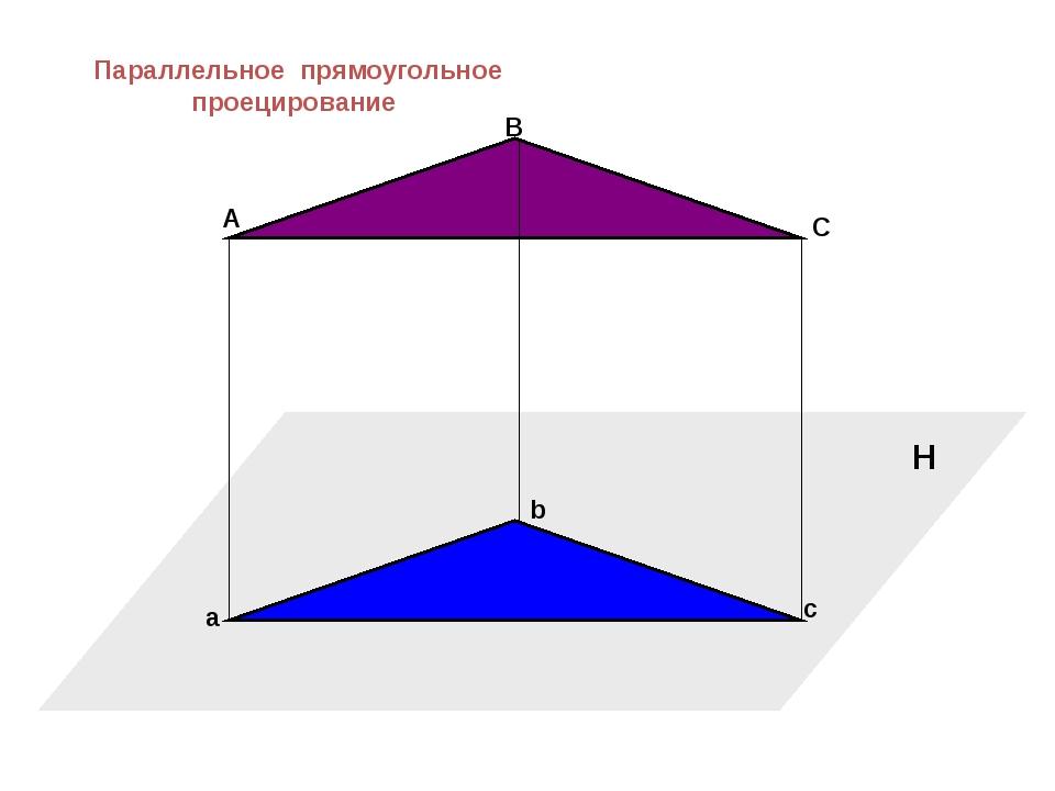 H A a B C b c Параллельное прямоугольное проецирование