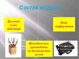 Состав модуля Целевой план действий Методическое руководство по достижению це