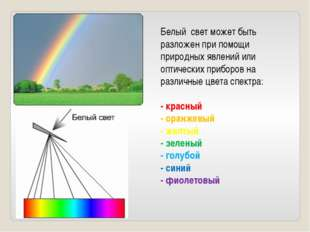 Белый свет может быть разложен при помощи природных явлений или оптических пр