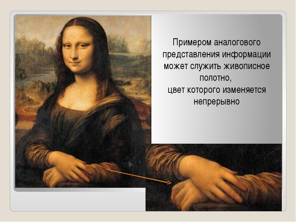 Примером аналогового представления информации может служить живописное полотн...