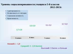 Уровень социализированности учащихся 5-8 классов 2012-2013г. 8 класс 50% 5 кл