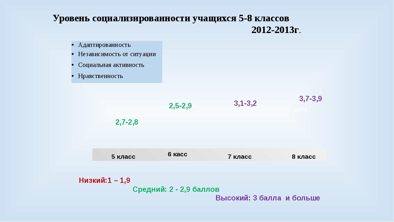 Уровень социализированности учащихся 5-8 классов 2012-2013г. 8 класс 50% 5 кл...