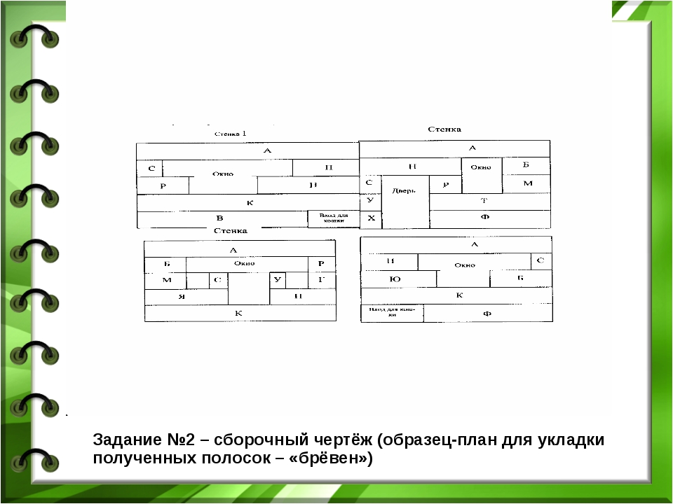Задание №2 – сборочный чертёж (образец-план для укладки полученных полосок –...