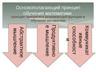 принцип приоритета развивающей функции в обучении математики Основополагающий