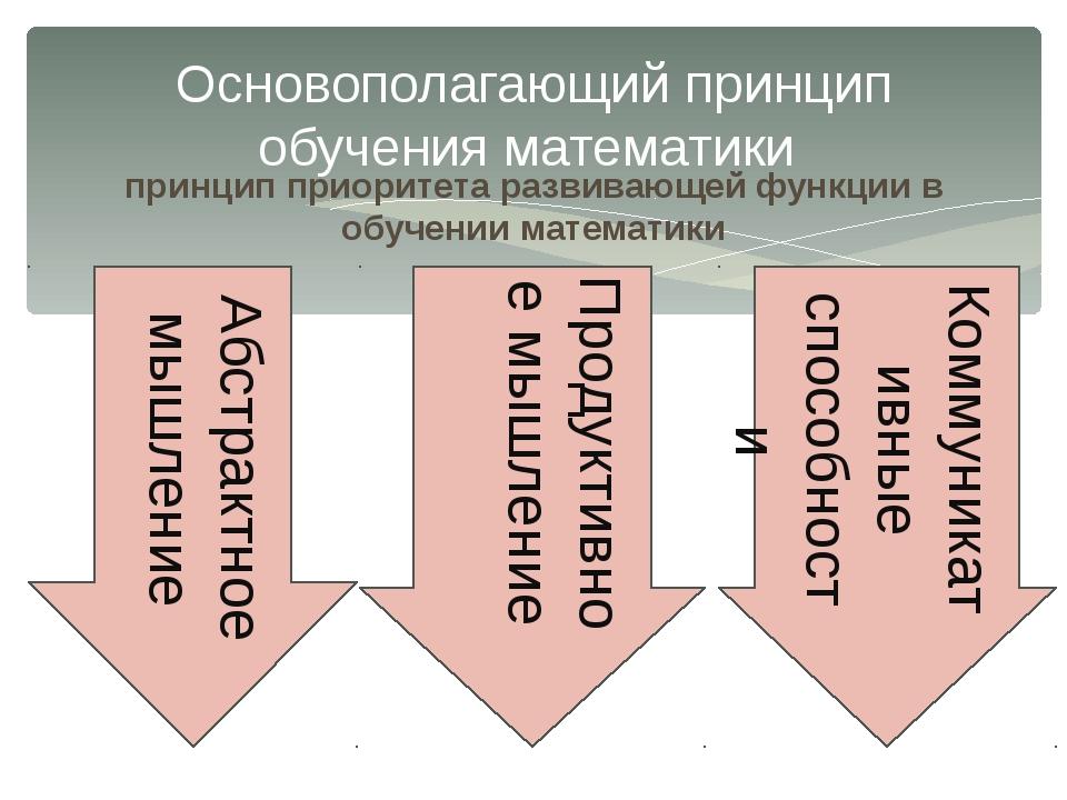 принцип приоритета развивающей функции в обучении математики Основополагающий...