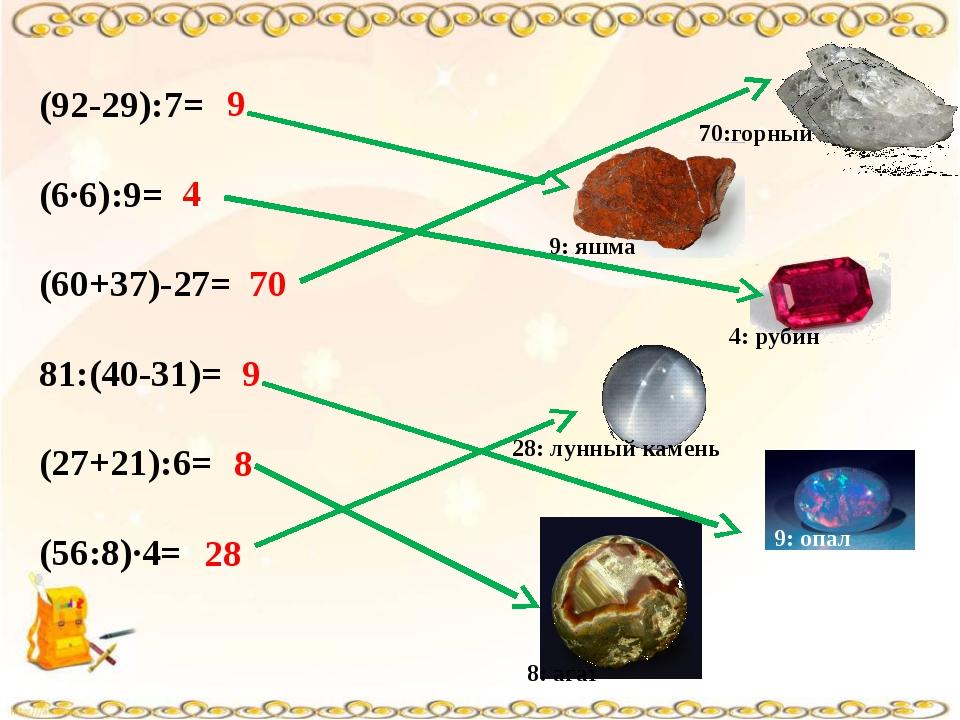 (92-29):7= (6∙6):9= (60+37)-27= 81:(40-31)= (27+21):6= (56:8)∙4= 9 4 70 9 8 2...