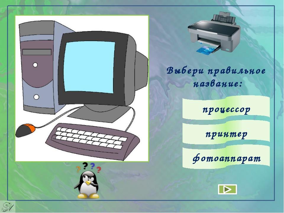 Выбери правильное название: процессор принтер фотоаппарат