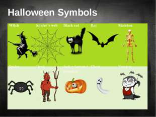 Halloween Symbols Witch Spider's web Black cat Bat Skeleton Spider Devil Jack