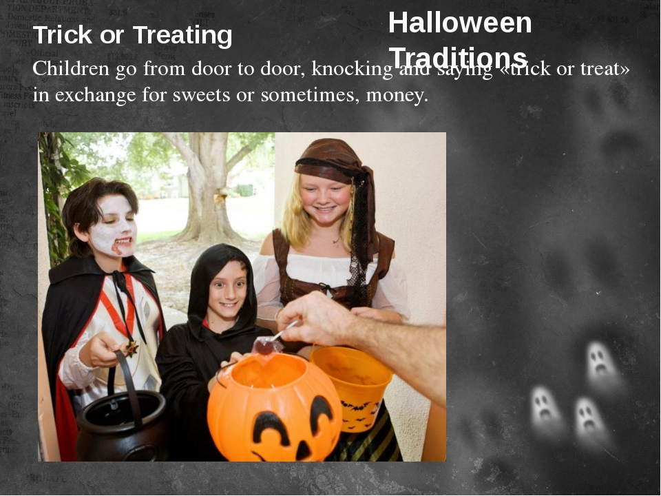 Trick or Treating Children go from door to door, knocking and saying «trick o...