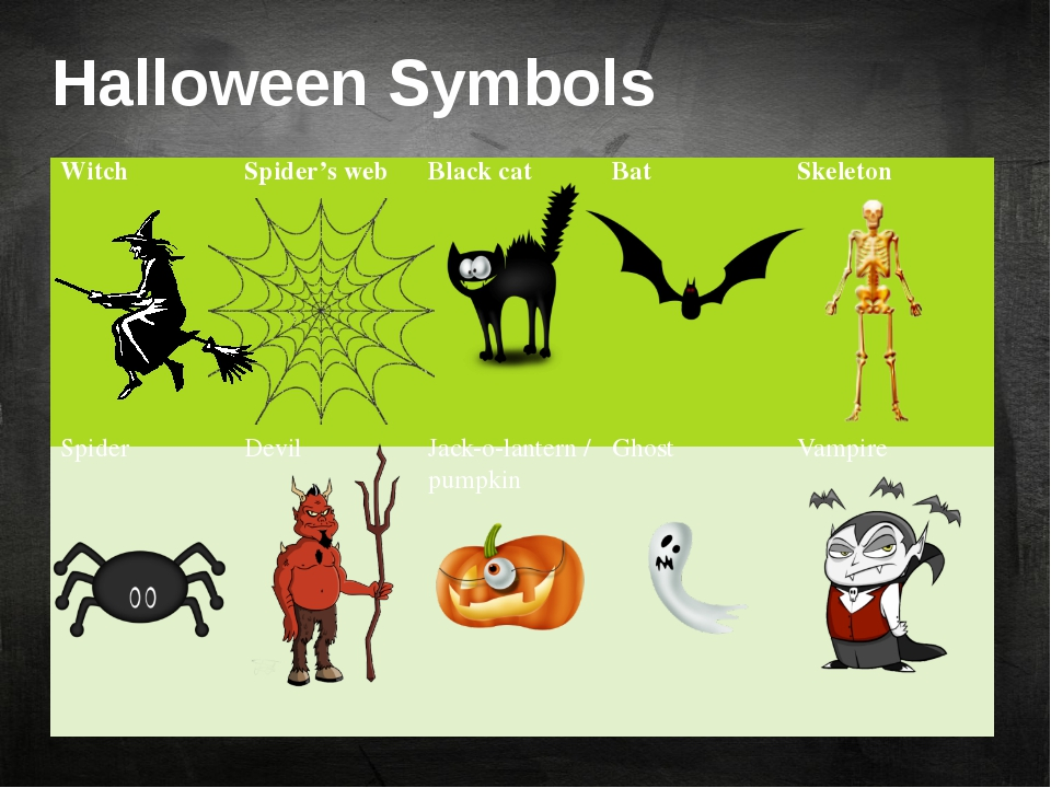 Halloween Symbols Witch Spider's web Black cat Bat Skeleton Spider Devil Jack...