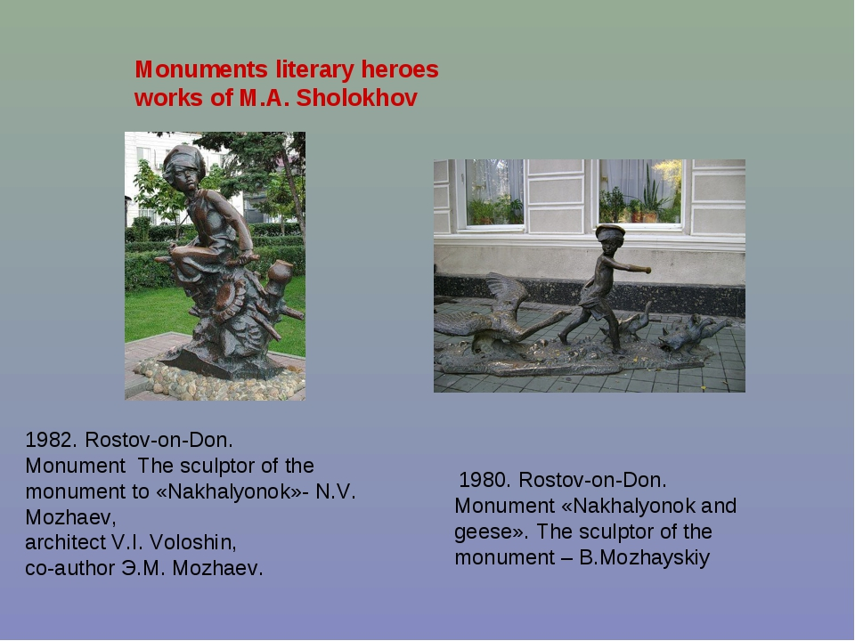 Monuments literary heroes works of M.A. Sholokhov 1980. Rostov-on-Don. Monume...