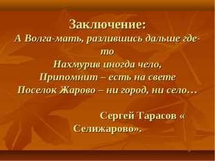 Заключение: А Волга-мать, разлившись дальше где-то Нахмурив иногда чело, При