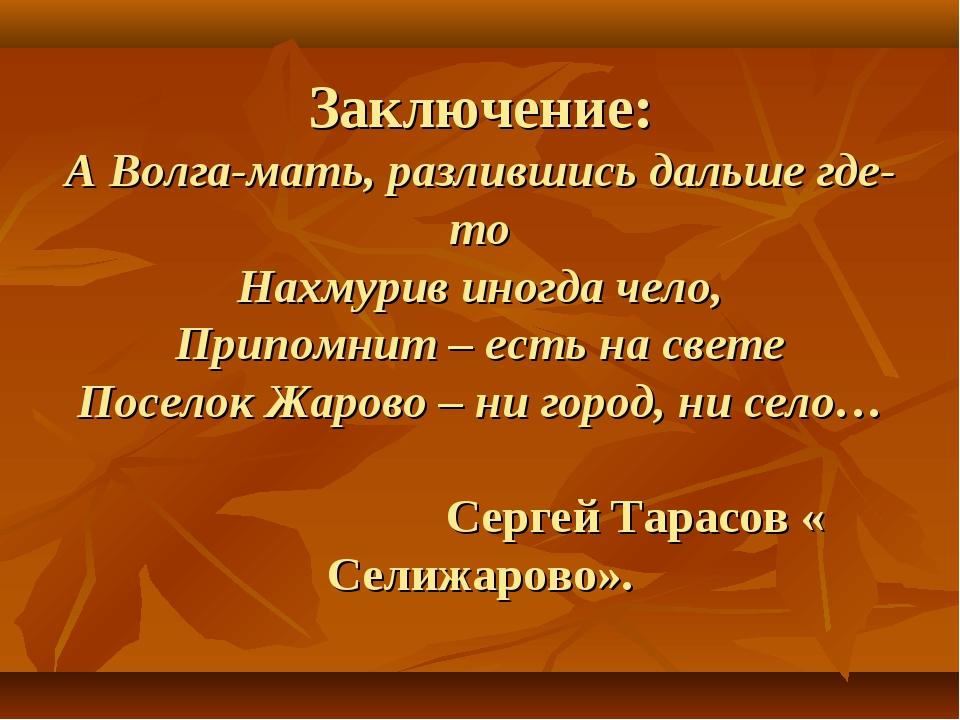Заключение: А Волга-мать, разлившись дальше где-то Нахмурив иногда чело, При...
