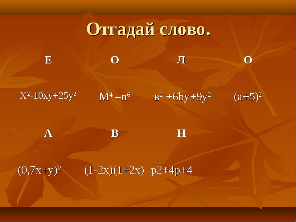 Отгадай слово. ЕОЛО X2-10xy+25y2M4 –n6 в2 +6by+9y2(a+5)2 АВН (0,7x+y...