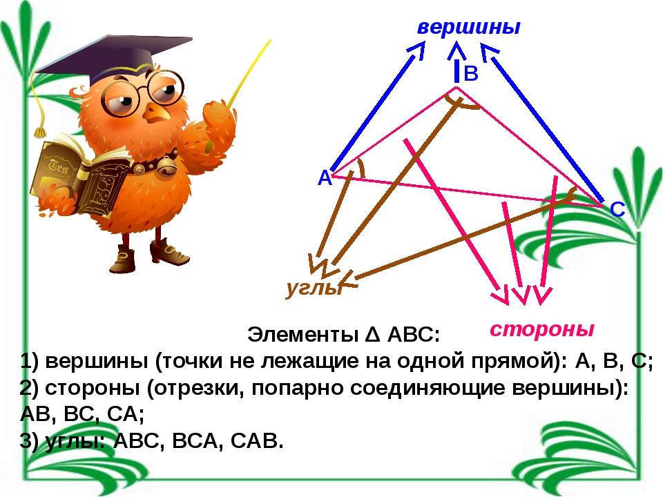 А В С стороны вершины углы Элементы Δ АВС: 1) вершины (точки не лежащие на од...