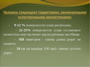 - 9-12 % поверхности суши распаханы; - 22-25% поверхности суши составляют по