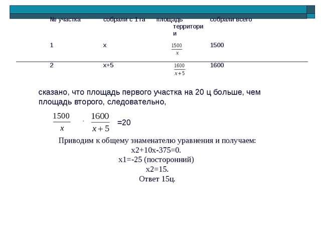 сказано, что площадь первого участка на 20 ц больше, чем площадь второго, сле...