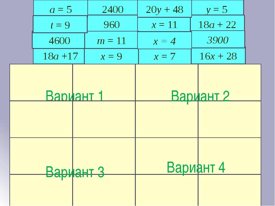 Математическое лото 18a +17 2400 x = 7 16x + 28 y = 5 Вариант 1 Спасибо за ур...