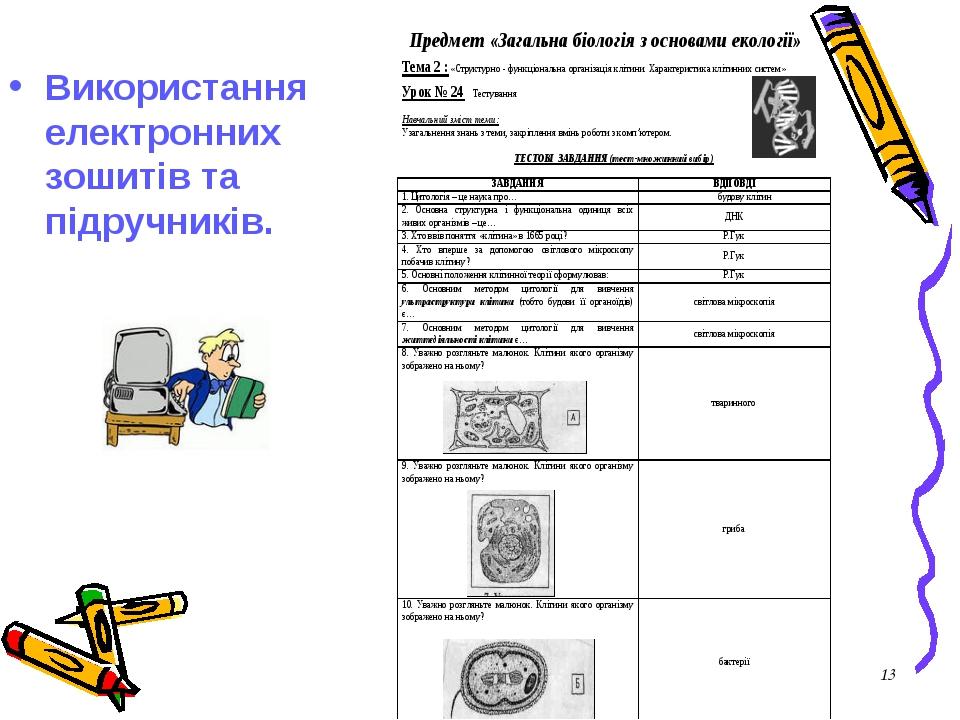 Використання електронних зошитів та підручників. 1