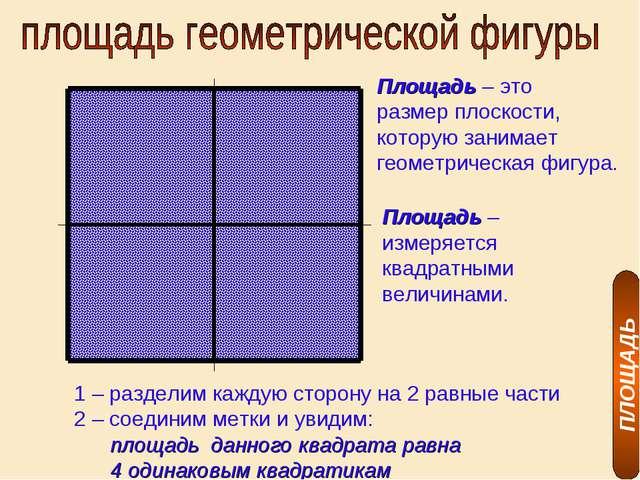 ПЛОЩАДЬ Площадь – это размер плоскости, которую занимает геометрическая фигур...