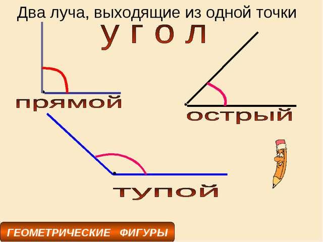 ГЕОМЕТРИЧЕСКИЕ ФИГУРЫ Два луча, выходящие из одной точки