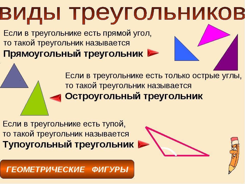ГЕОМЕТРИЧЕСКИЕ ФИГУРЫ Если в треугольнике есть прямой угол, то такой треуголь...