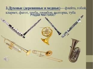 2.Духовые (деревянные и медные)— флейта, гобой, кларнет, фагот, труба, тромбо