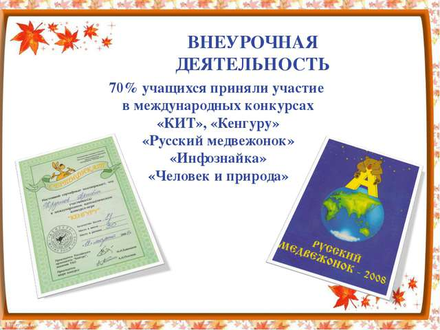 70% учащихся приняли участие в международных конкурсах «КИТ», «Кенгуру» «Русс...
