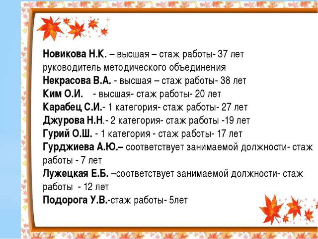 Новикова Н.К. – высшая – стаж работы- 37 лет руководитель методического объе...