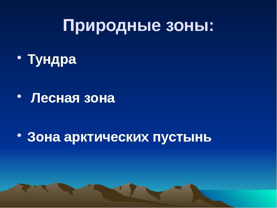 Природные зоны: Тундра Лесная зона Зона арктических пустынь
