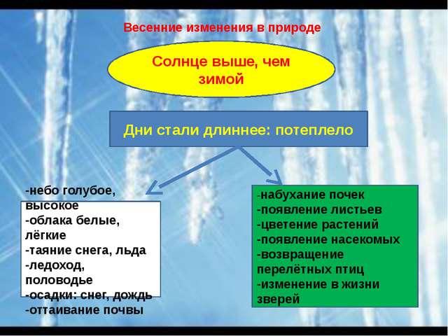 Весенние изменения в природе Дни стали длиннее: потеплело -небо голубое, высо...