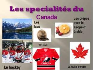 Les lacs Les crèpes avec le sirope d' érable Le hockey Canada La feuille d'ér