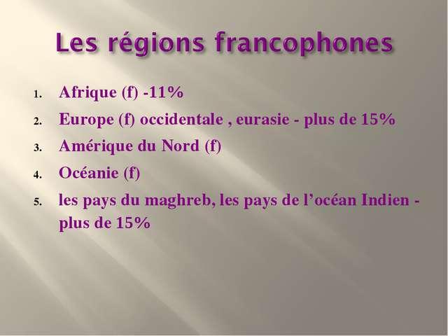 Afrique (f) -11% Europe (f) occidentale ,eurasie - plus de 15% Amérique du...