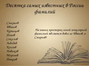 Смирнов Иванов Кузнецов Попов Соколов Лебедев Козлов Новиков Морозов Петров