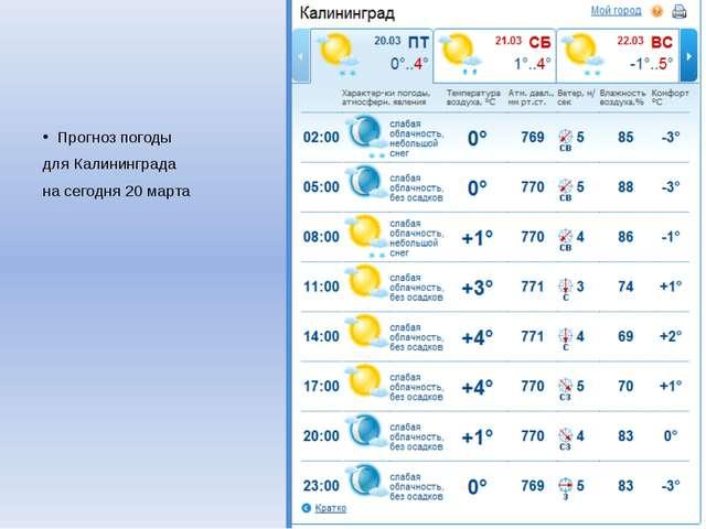 Прогноз погоды для Калининграда на сегодня 20 марта