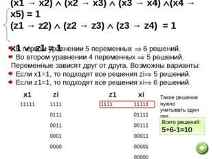 Сколько различных решений имеет система логических уравнений: (x1 → x2) (x2