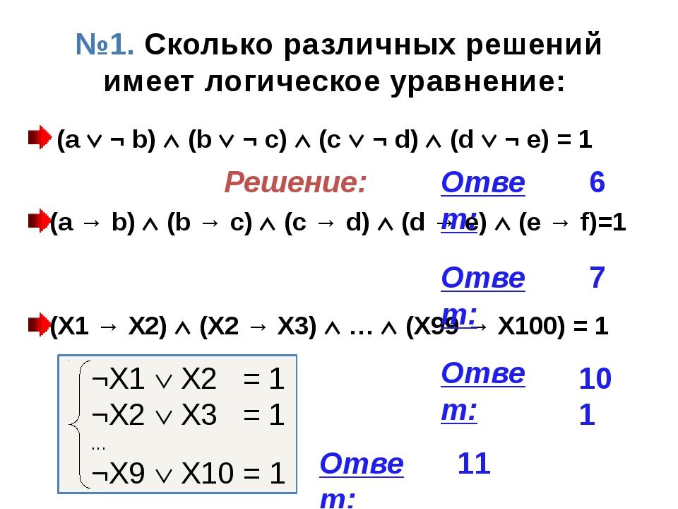 № 5. Сколько различных решений имеет система уравнений: № 6. Ответ: 11 Решени...