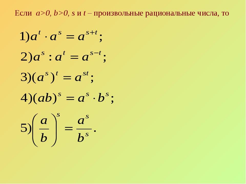 Если а>0, b>0, s и t – произвольные рациональные числа, то