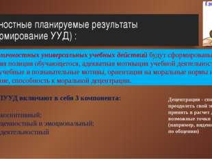 Личностные планируемые результаты (формирование УУД) : В сфере личностных уни