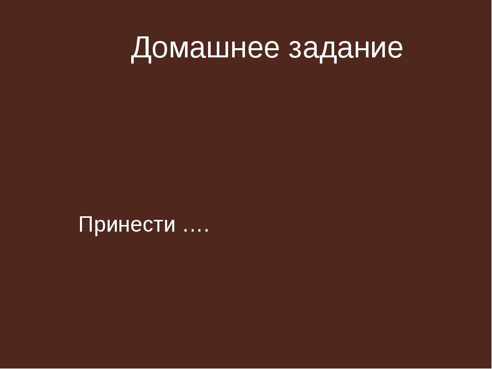 Домашнее задание Принести ….