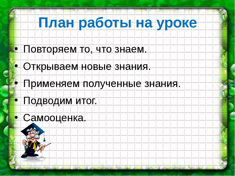 План работы на уроке Повторяем то, что знаем. Открываем новые знания. Применя...