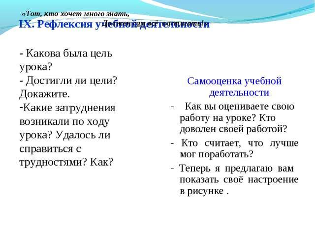 IX. Рефлексия учебной деятельности Самооценка учебной деятельности - Как вы...