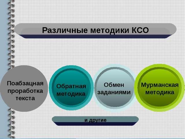 Различные методики КСО Поабзацная проработка текста Обмен заданиями Обратная...