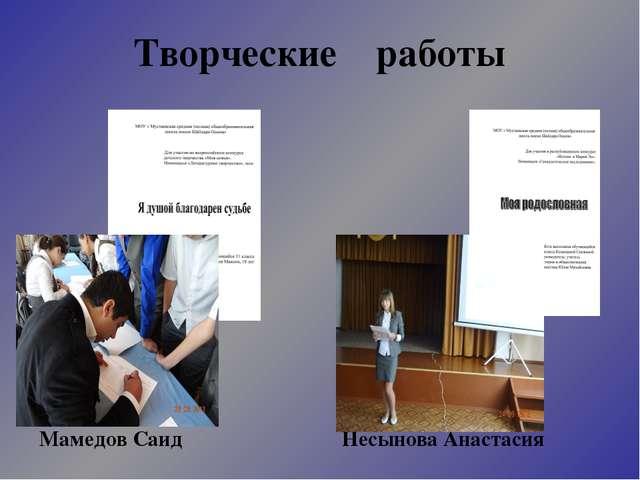 Творческие работы Мамедов Саид Несынова Анастасия
