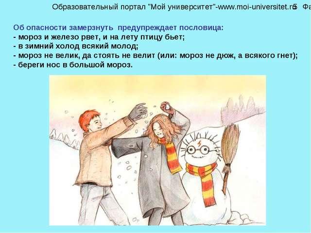 Об опасности замерзнуть предупреждает пословица: - мороз и железо рвет, и на...