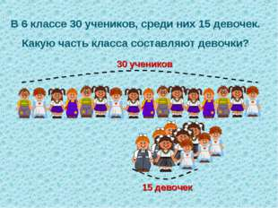 В 6 классе 30 учеников, среди них 15 девочек. Какую часть класса составляют д
