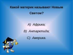 Какой материк называют Новым Светом? А) Африка; В) Антарктида; С) Америка.