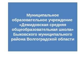Муниципальное образовательное учреждение «Демидовская средняя общеобразовател