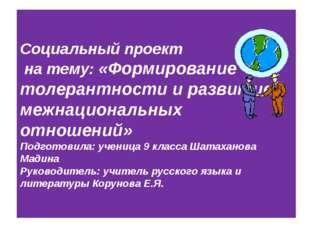 Социальный проект на тему: «Формирование толерантности и развитие межнационал