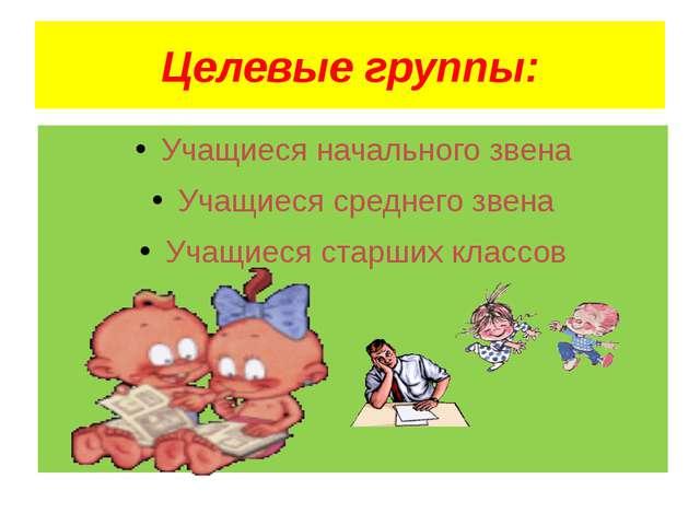 Целевые группы: Учащиеся начального звена Учащиеся среднего звена Учащиеся ст...